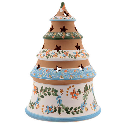 Sky blue tree with statues in Deruta terracotta with light 20 cm 4