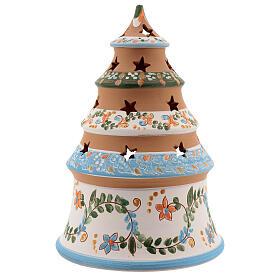 Sapin terre cuite Sainte Famille bougie Deruta 20 cm bleu ciel s4