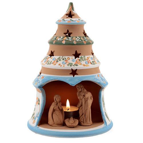Sapin terre cuite Sainte Famille bougie Deruta 20 cm bleu ciel 1
