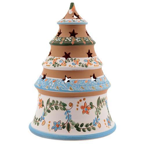 Sapin terre cuite Sainte Famille bougie Deruta 20 cm bleu ciel 4