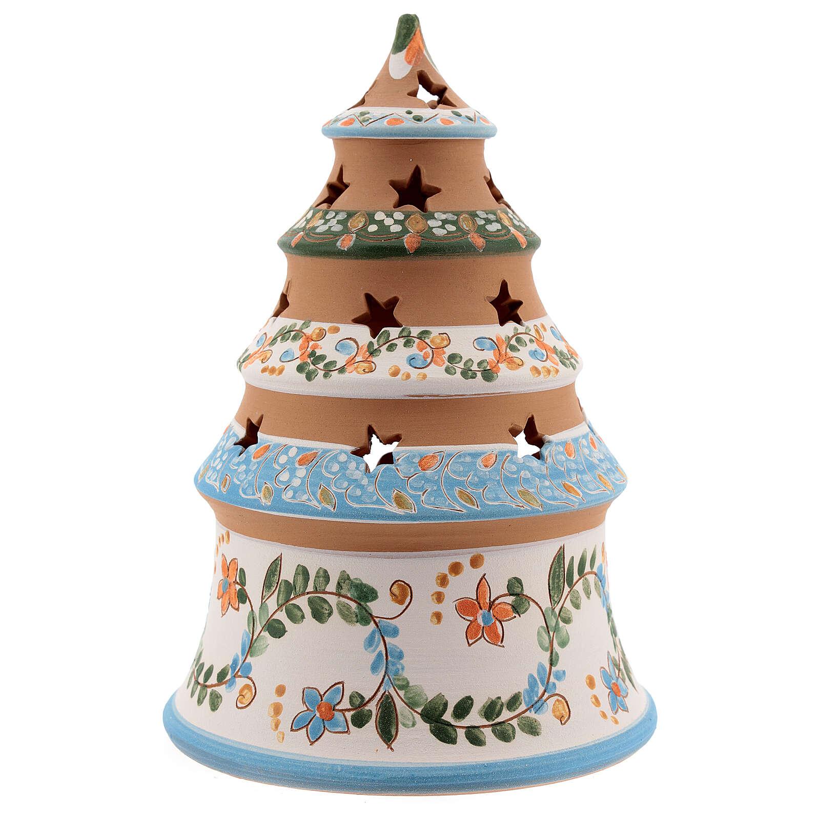 Albero terracotta Sacra famiglia lumino Deruta 20 cm celeste 4