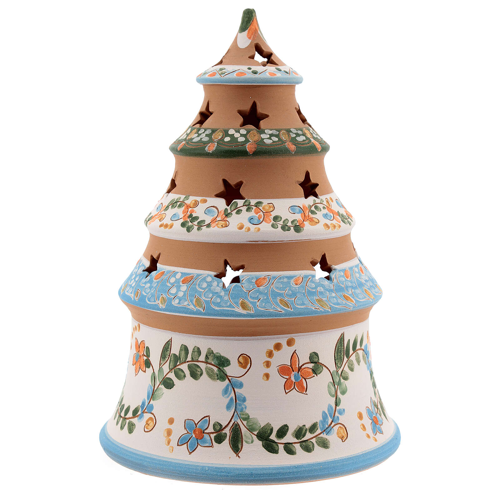 Terracotta Christmas tree Sacred Family tealight light blue 4