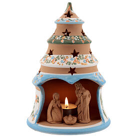 Terracotta Christmas tree Sacred Family tealight light blue s1