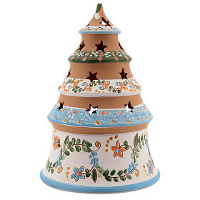 Terracotta Christmas tree Sacred Family tealight light blue s4