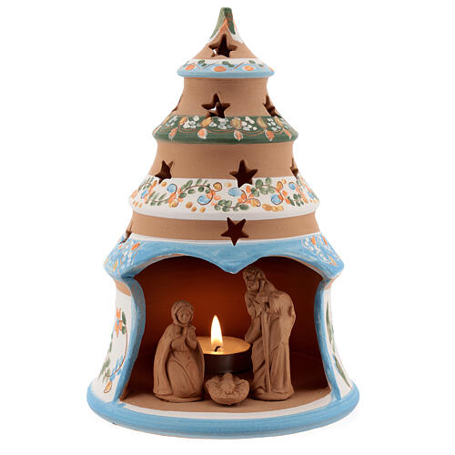 Terracotta Christmas tree Sacred Family tealight light blue 1