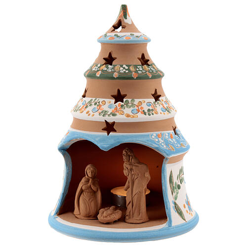 Terracotta Christmas tree Sacred Family tealight light blue 2