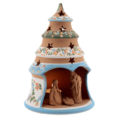 Terracotta Christmas tree Sacred Family tealight light blue 3