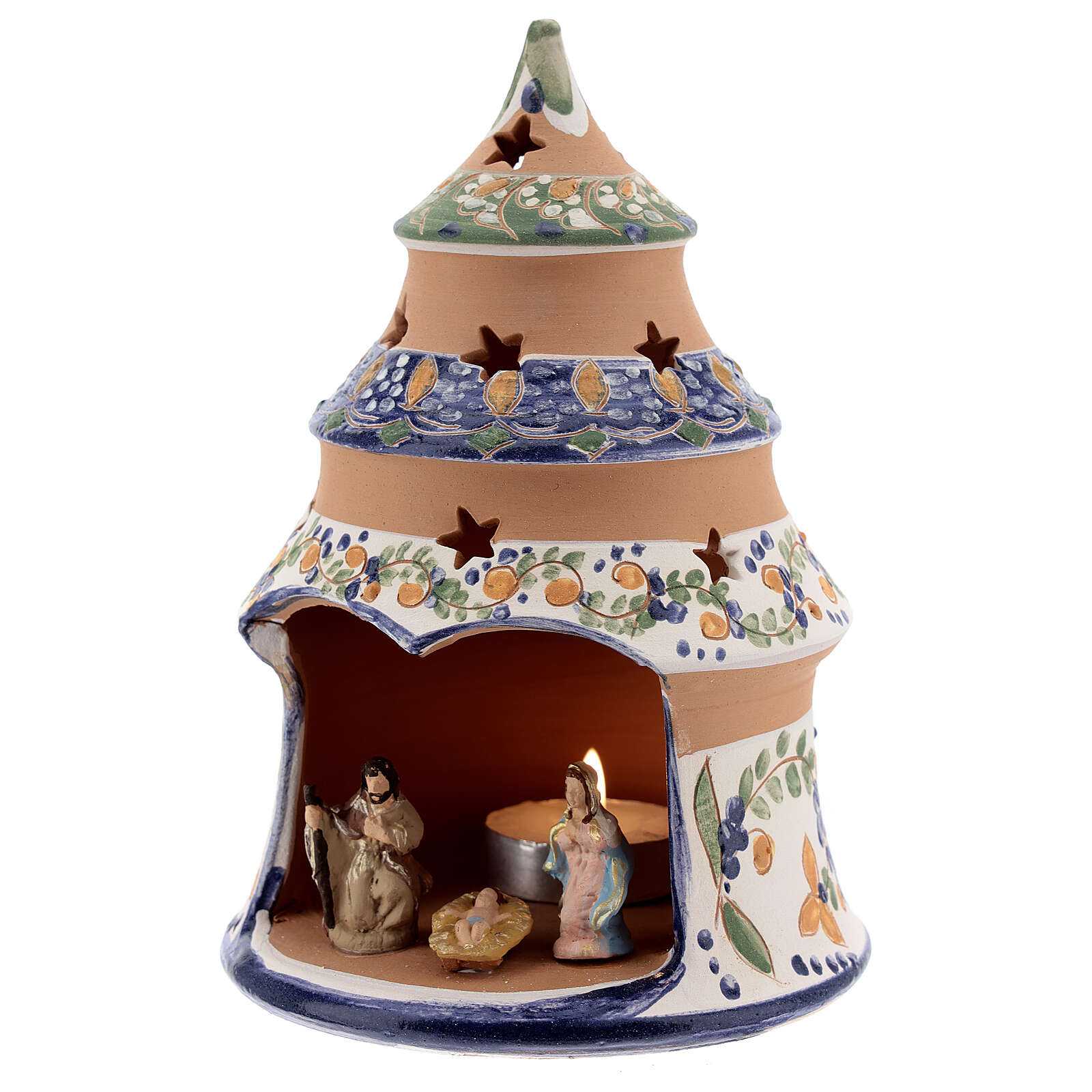 Blue tree with statues in Deruta terracotta with light 15 cm 4