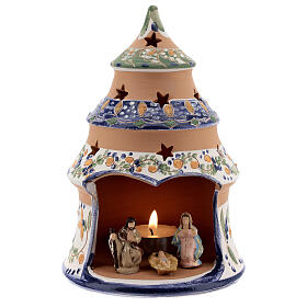 Blue tree with statues in Deruta terracotta with light 15 cm s1