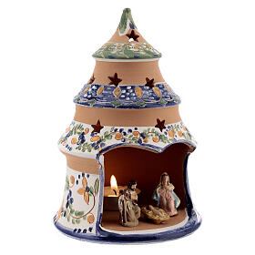 Blue tree with statues in Deruta terracotta with light 15 cm s3