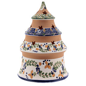 Blue tree with statues in Deruta terracotta with light 15 cm s4