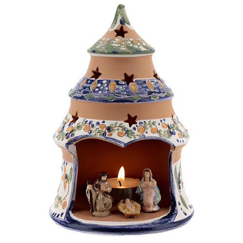Blue tree with statues in Deruta terracotta with light 15 cm 1