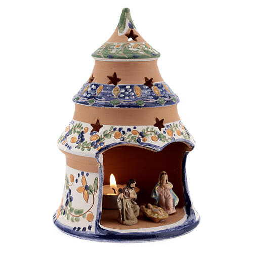 Blue tree with statues in Deruta terracotta with light 15 cm 3
