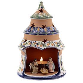 Sapin terre cuite Nativité peinte bleu ciel Deruta 15 cm s1