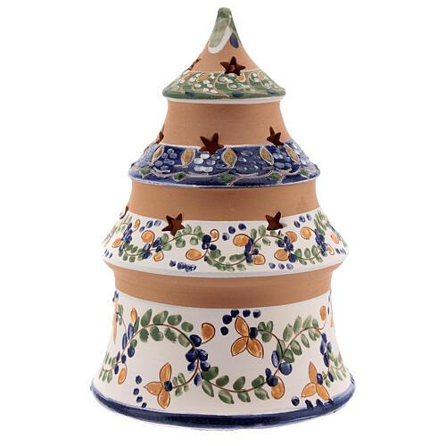 Sapin terre cuite Nativité peinte bleu ciel Deruta 15 cm 4