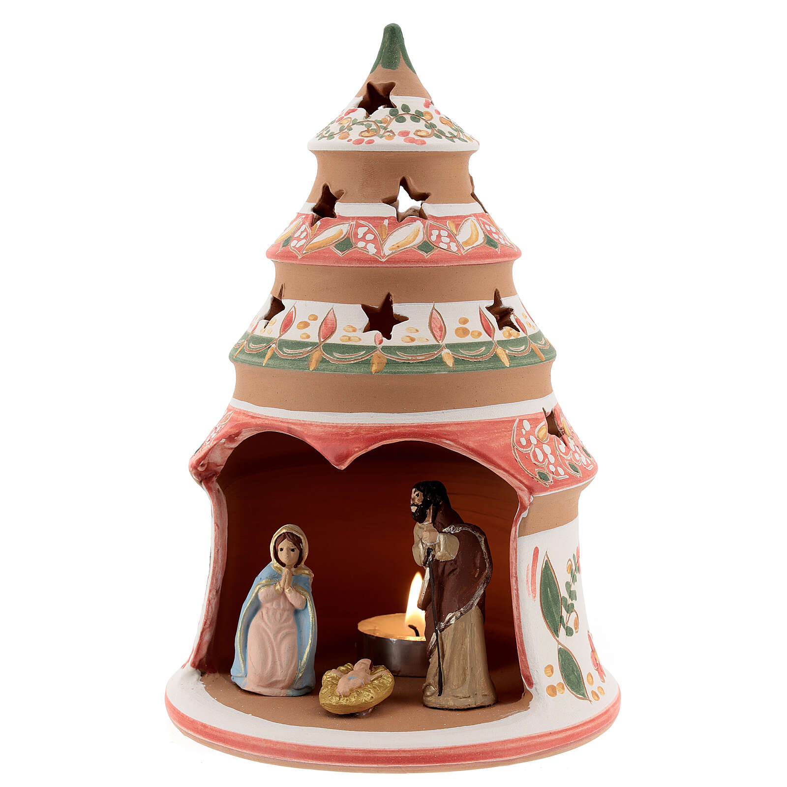 Red tree with statues in Deruta terracotta with light 20 cm 4