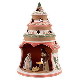 Abeto terracota Natividad pintada vela Deruta 20 cm rojo s2