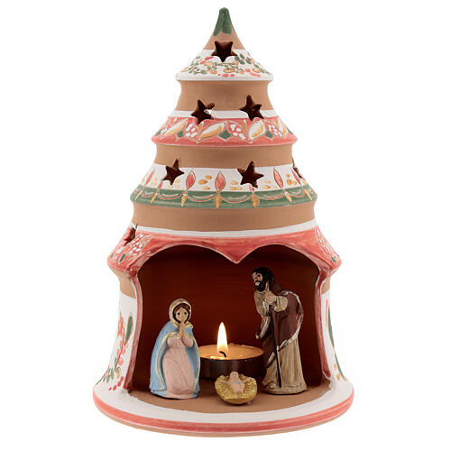 Abeto terracota Natividad pintada vela Deruta 20 cm rojo 1