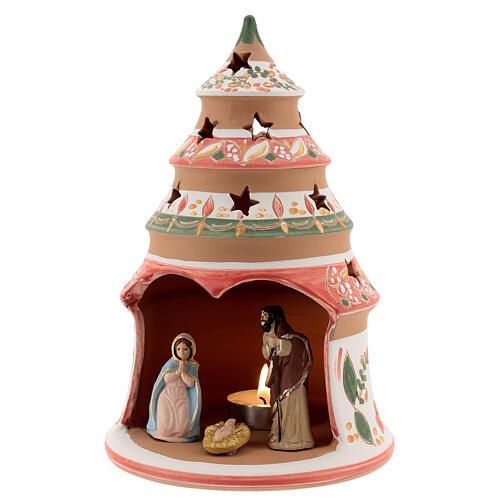 Abeto terracota Natividad pintada vela Deruta 20 cm rojo 2