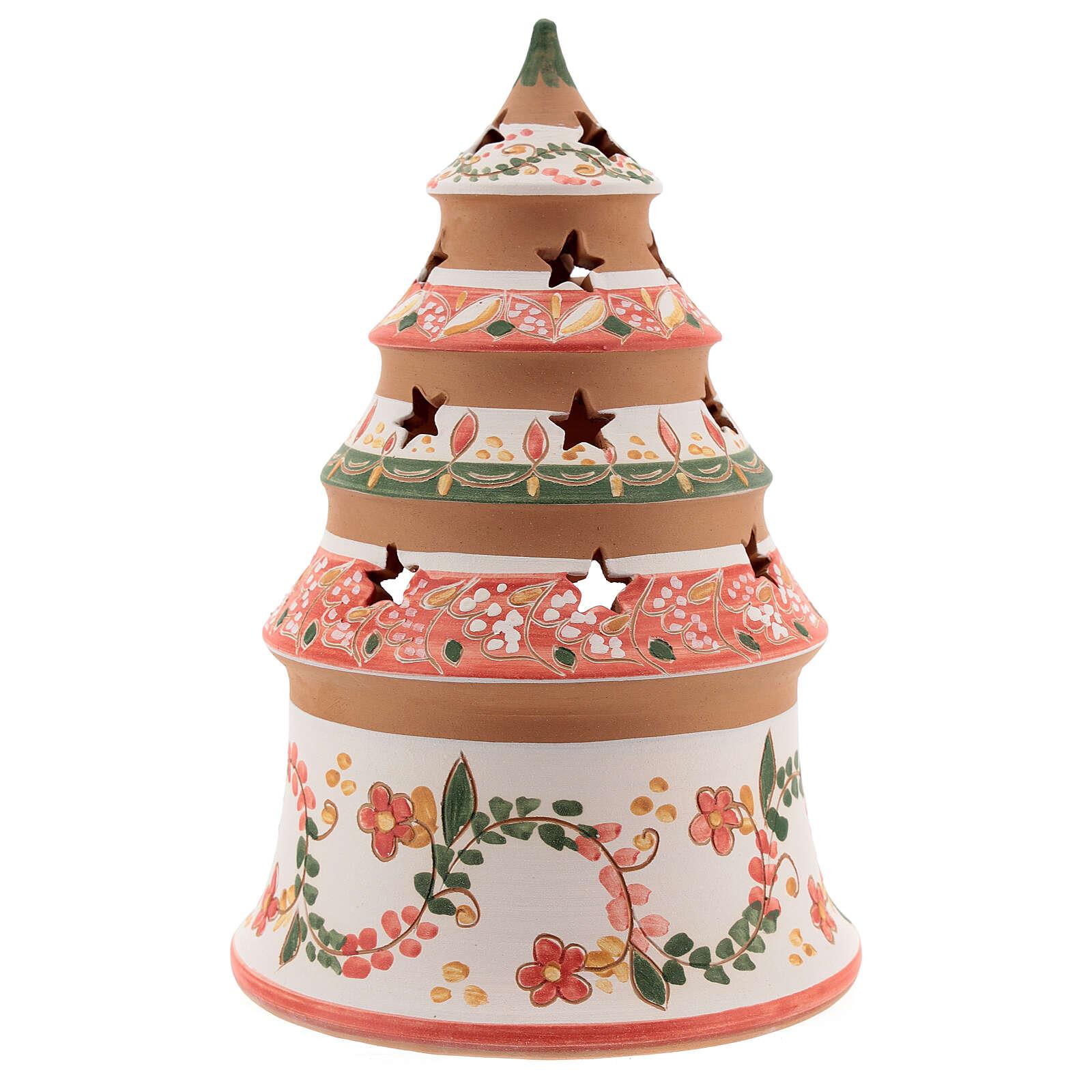 Abete terracotta Natività dipinta lumino Deruta 20 cm rosso 4