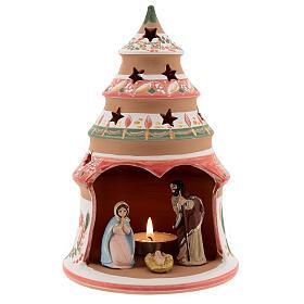 Abete terracotta Natività dipinta lumino Deruta 20 cm rosso s1