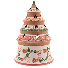 Abete terracotta Natività dipinta lumino Deruta 20 cm rosso s4