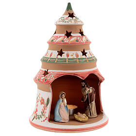 Tealight nativity terracotta Deruta 20 cm red s3
