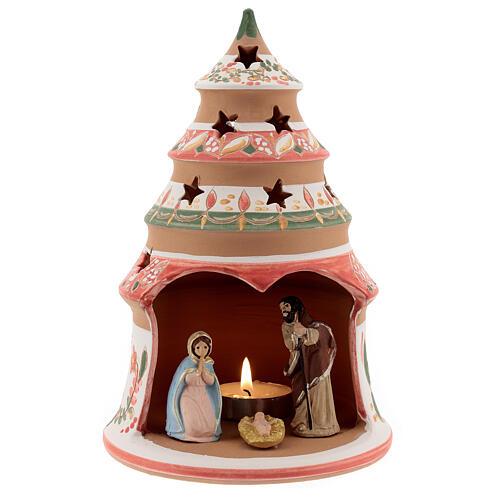 Tealight nativity terracotta Deruta 20 cm red 1