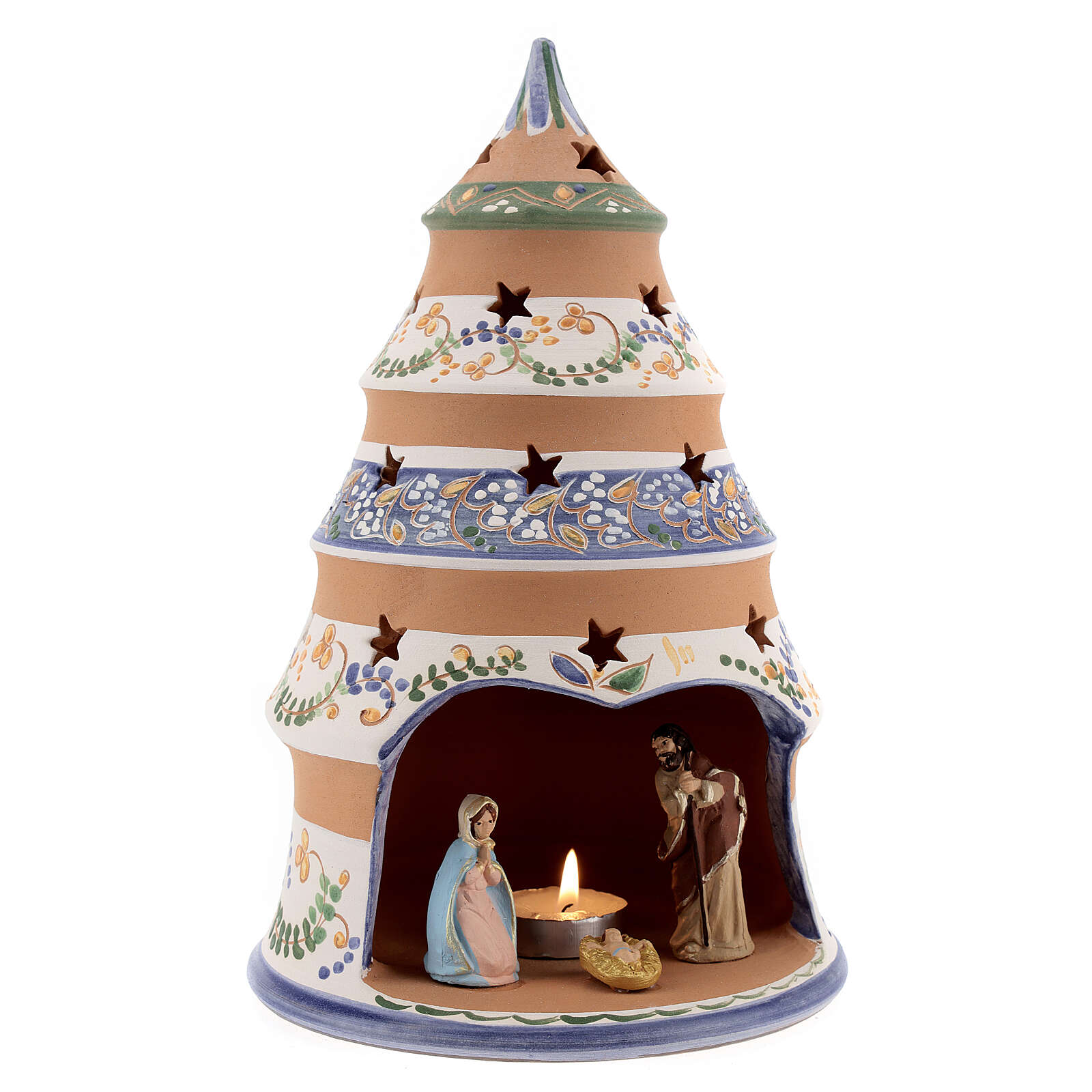Sapin style campagnard Nativité terre cuite naturelle santons peints Deruta 25 cm 4