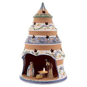 Sapin style campagnard Nativité terre cuite naturelle santons peints Deruta 25 cm s2