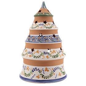 Sapin style campagnard Nativité terre cuite naturelle santons peints Deruta 25 cm s4