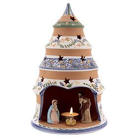 Árvore Natividade de Jesus estilo country decoração azul com vela e Sagrada Família terracota Deruta 25 cm s1