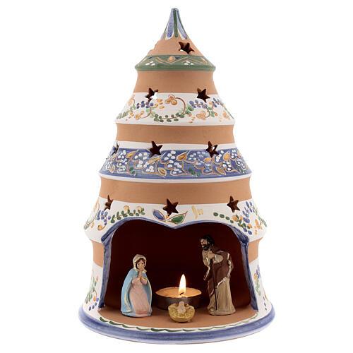 Árvore Natividade de Jesus estilo country decoração azul com vela e Sagrada Família terracota Deruta 25 cm 1