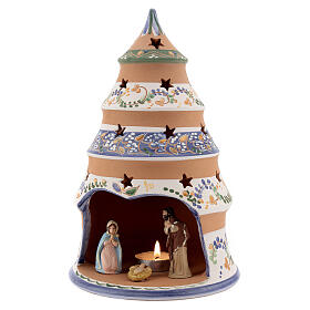 Tree tealight Nativity in natural Deruta teracotta country style 25 cm s2