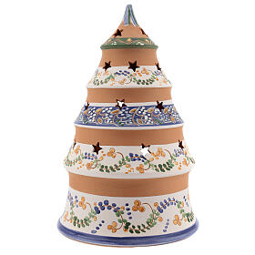 Tree tealight Nativity in natural Deruta teracotta country style 25 cm s4