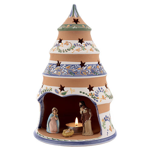 Tree tealight Nativity in natural Deruta teracotta country style 25 cm 2