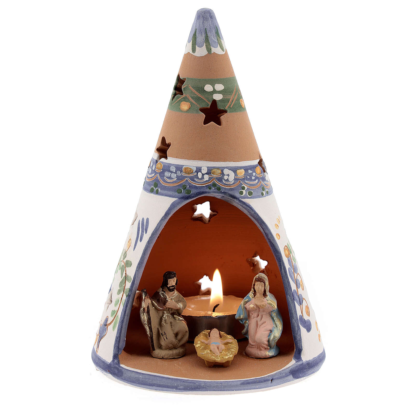 Blue cone with statues in Deruta terracotta with light 15 cm 4