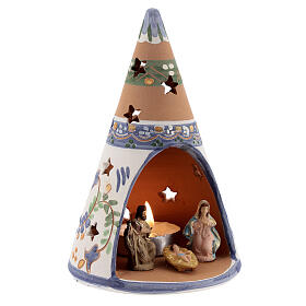 Blue cone with statues in Deruta terracotta with light 15 cm s3