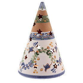 Blue cone with statues in Deruta terracotta with light 15 cm s4