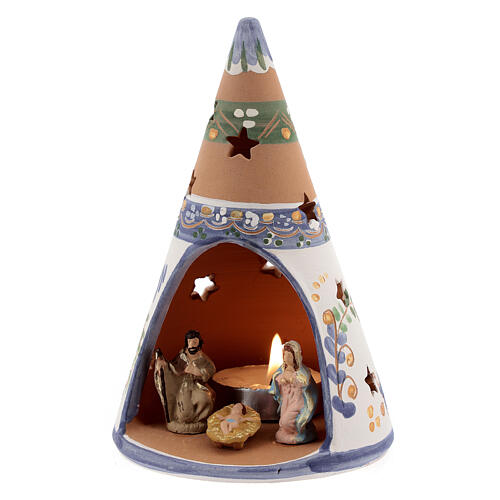 Blue cone with statues in Deruta terracotta with light 15 cm 2