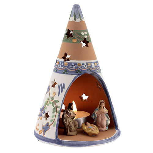 Blue cone with statues in Deruta terracotta with light 15 cm 3
