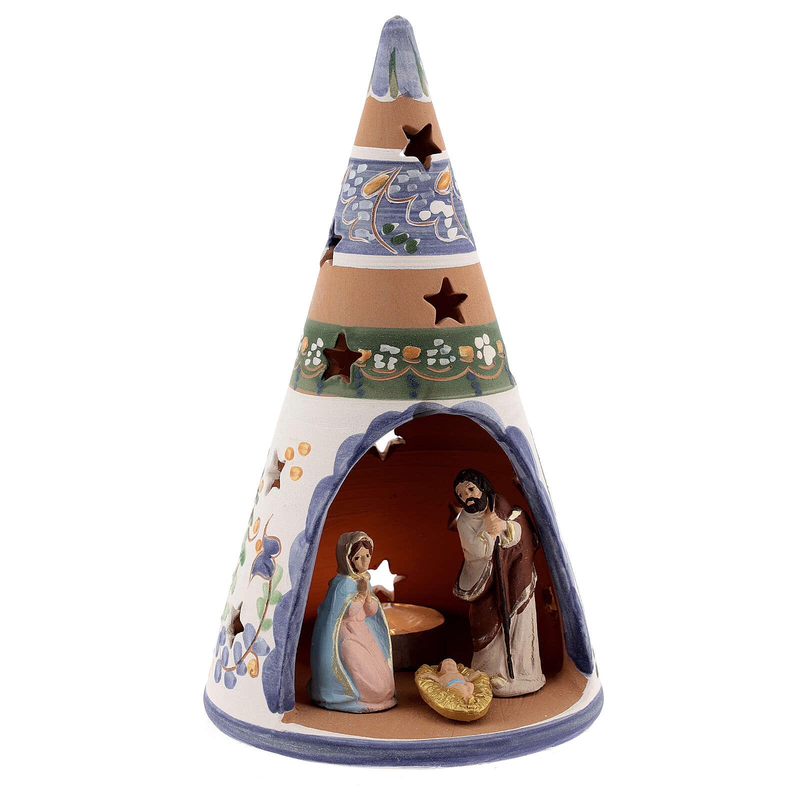 Country cone with statues in Deruta terracotta with light 20 cm 4