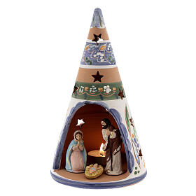 Country cone with statues in Deruta terracotta with light 20 cm s2