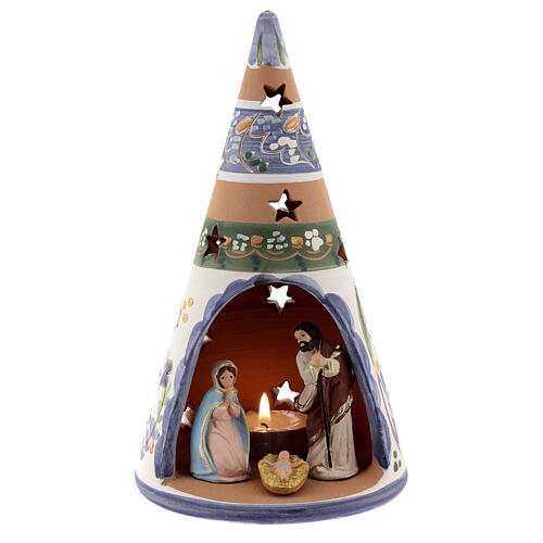 Cone country Deruta terracotta Nativity painted statues 20 cm blue 1