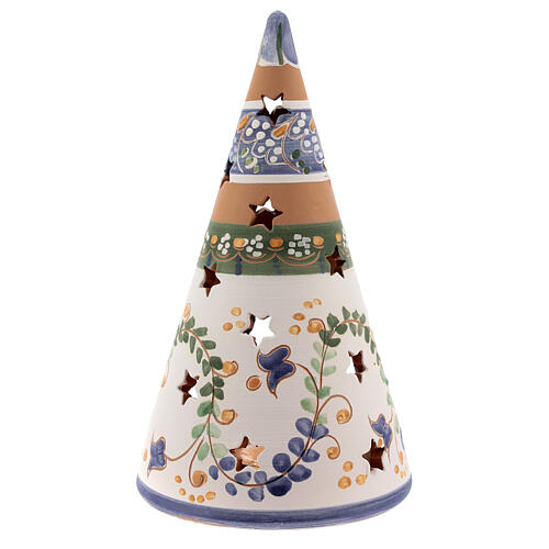 Cone country Deruta terracotta Nativity painted statues 20 cm blue 4