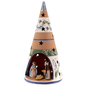 Blue cone with statues in Deruta terracotta with light 25 cm s2