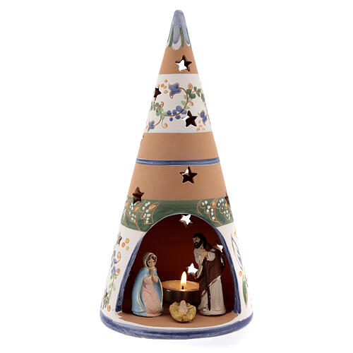 Blue cone with statues in Deruta terracotta with light 25 cm 1