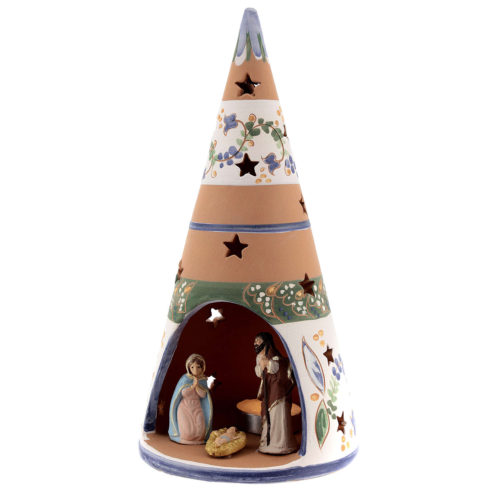 Cone with Nativity set colored Deruta terracotta 25 cm blue 4