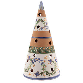Cone with Nativity set colored Deruta terracotta 25 cm blue s4