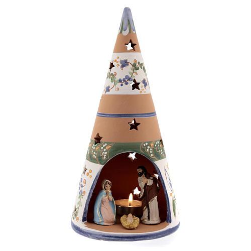 Cone with Nativity set colored Deruta terracotta 25 cm blue 1